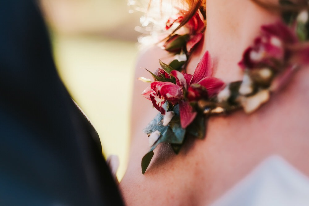 Floral Flower Necklace Romantic Wedding Ideas Neon Lighting Kate McCarthy Photography