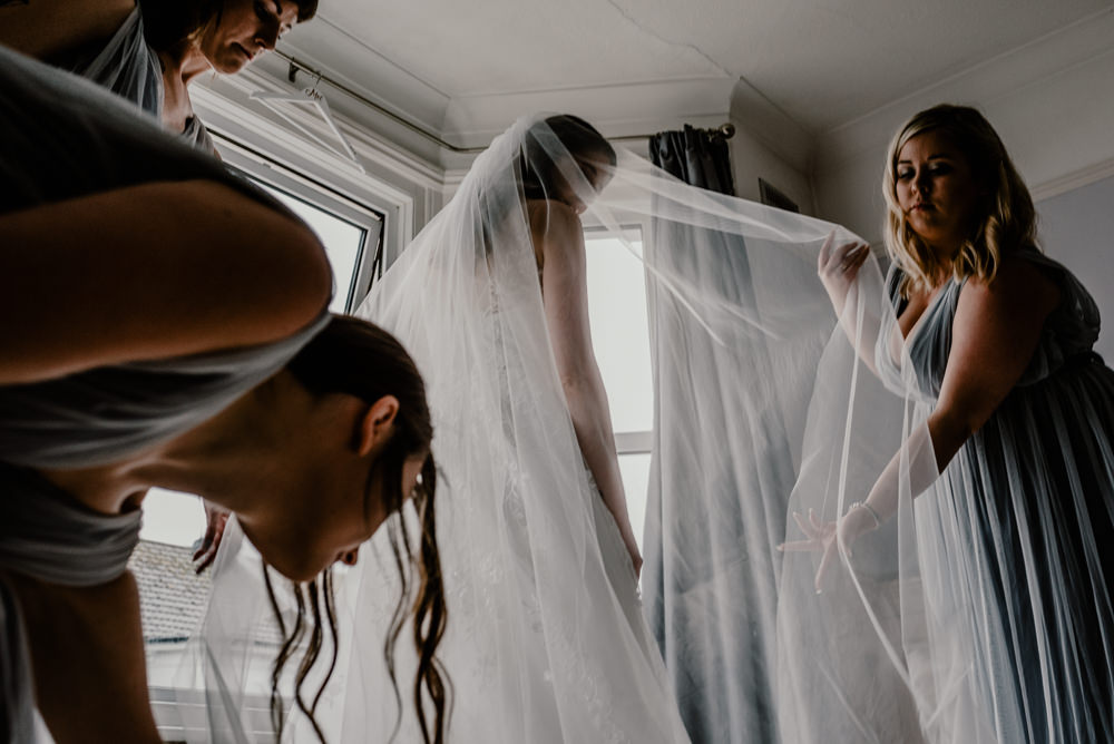 Veil Bride Bridal Rustic Barn Wedding Louise Griffin Photography