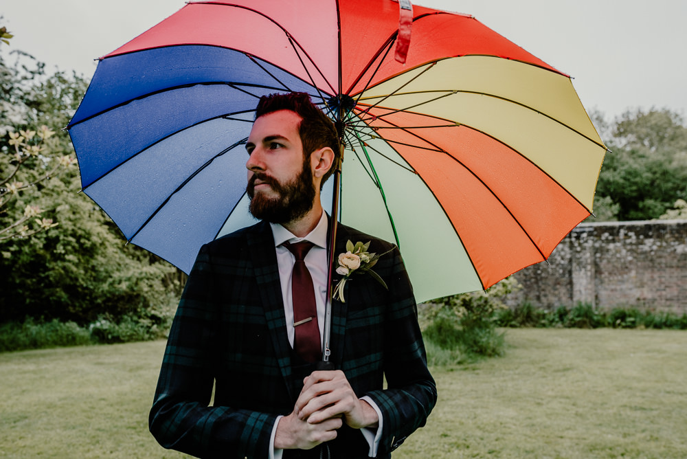 Groom Suit Tartan Green Burgundy Tie Rustic Barn Wedding Louise Griffin Photography