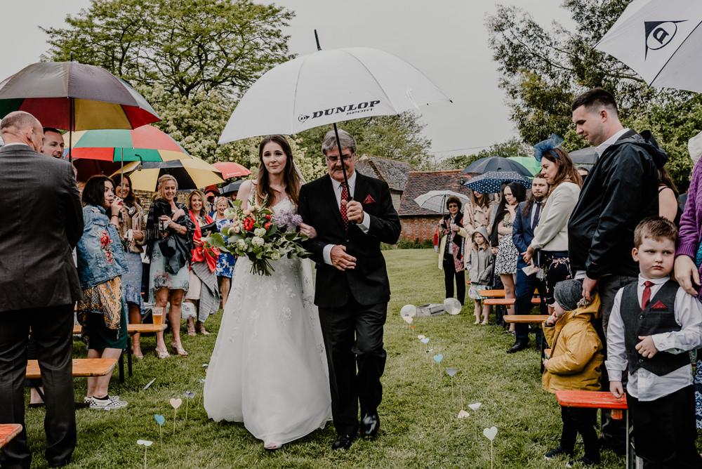 Rainy Rain Ceremony Outdoor Rustic Barn Wedding Louise Griffin Photography