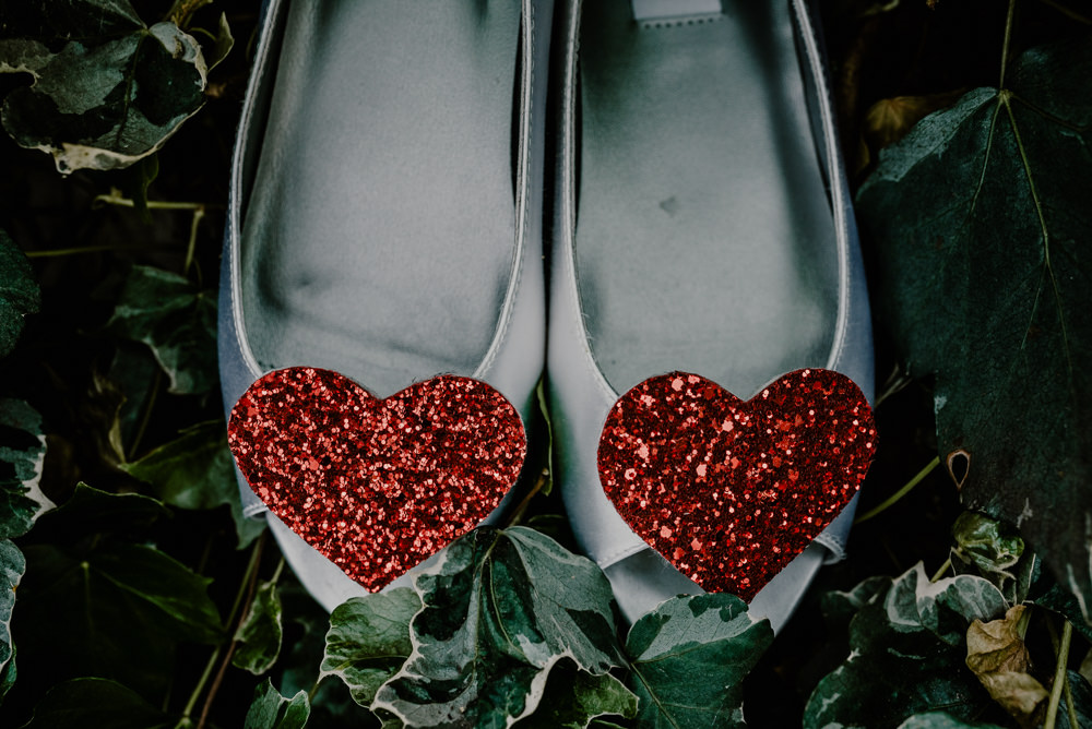 Glitter Heart Shoes Bride Bridal Rustic Barn Wedding Louise Griffin Photography