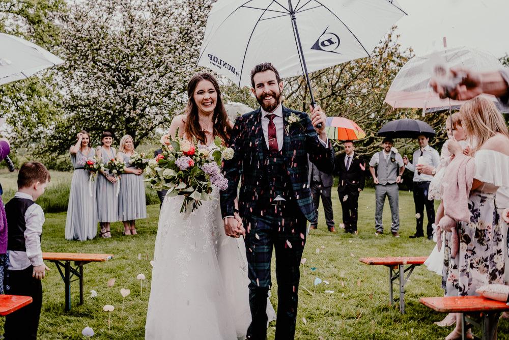 Confetti Throw Rain Rainy Rustic Barn Wedding Louise Griffin Photography