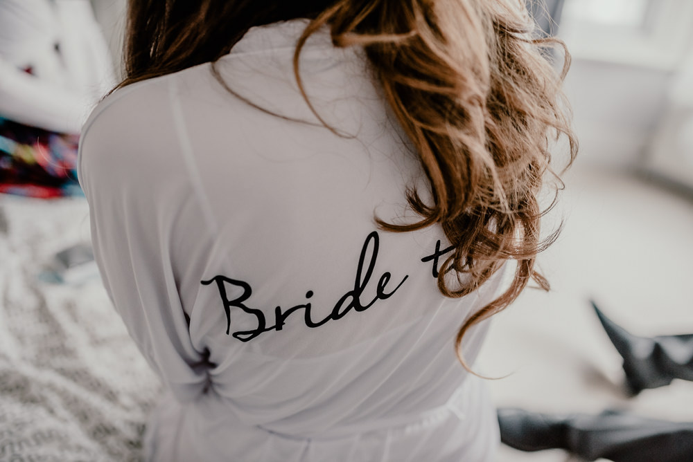 Bride Bridal Dressing Gown Robe Rustic Barn Wedding Louise Griffin Photography