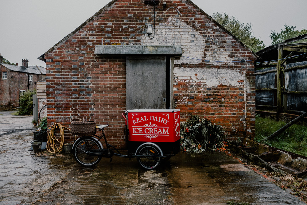 Ice Cream Cart Rustic Barn Wedding Louise Griffin Photography