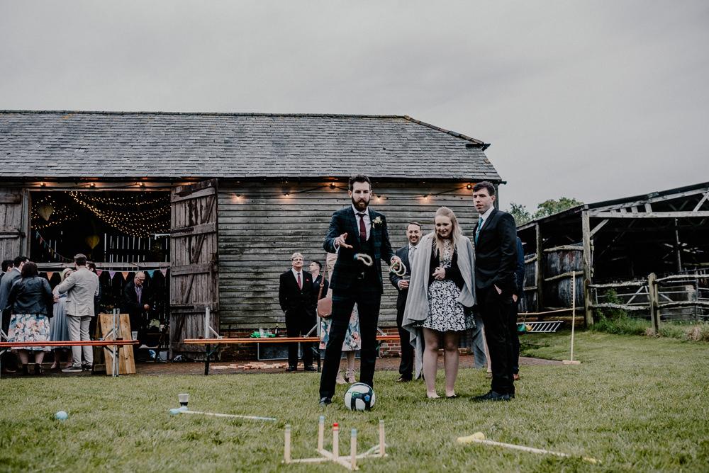 Garden Fete Games Rustic Barn Wedding Louise Griffin Photography