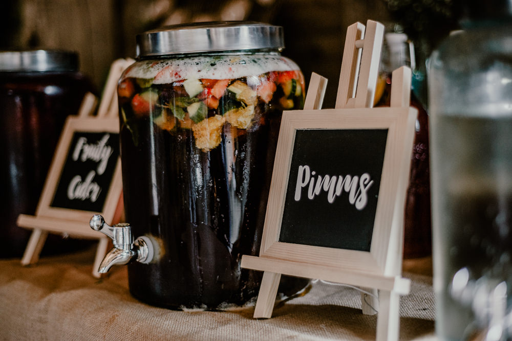 Pimms Welcome Drinks Reception Rustic Barn Wedding Louise Griffin Photography