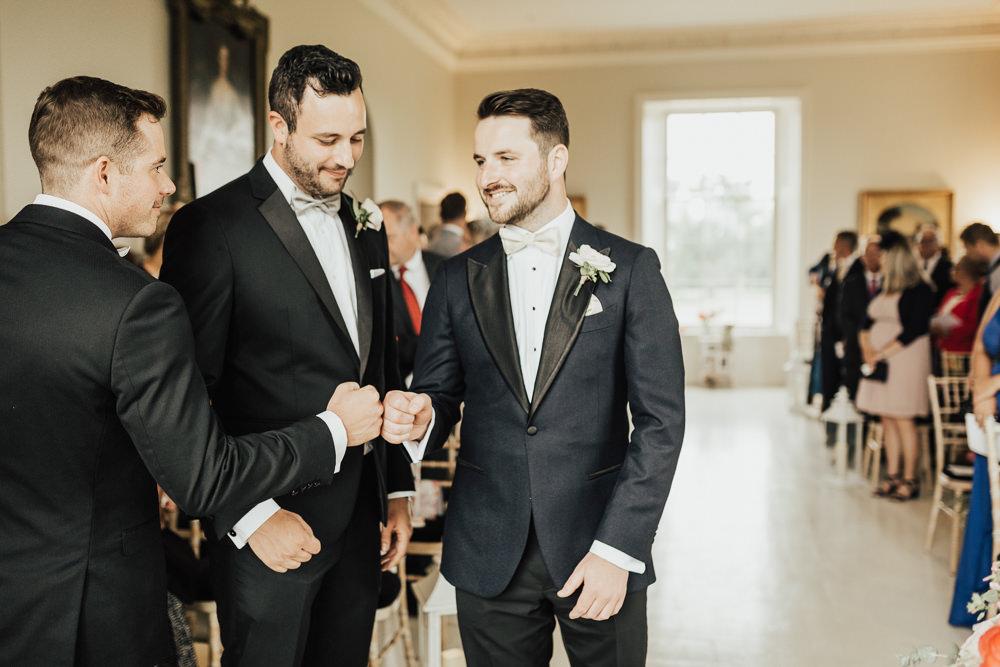 Groom Suit Tux Tuxedo Bow Tie Groomsmen Stubton Hall Wedding Darina Stoda Photography