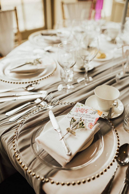 Place Setting Plates Greenery Menu Stubton Hall Wedding Darina Stoda Photography