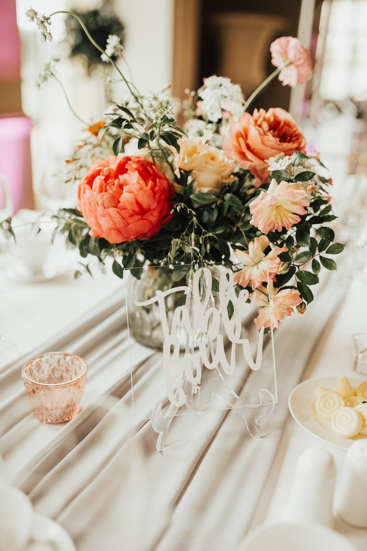 Perspex Acrylic Table Number Sign Table Flowers Coral Peony Peonies Rose Pink Ranunculus Eucalyptus Ribbon Stubton Hall Wedding Darina Stoda Photography