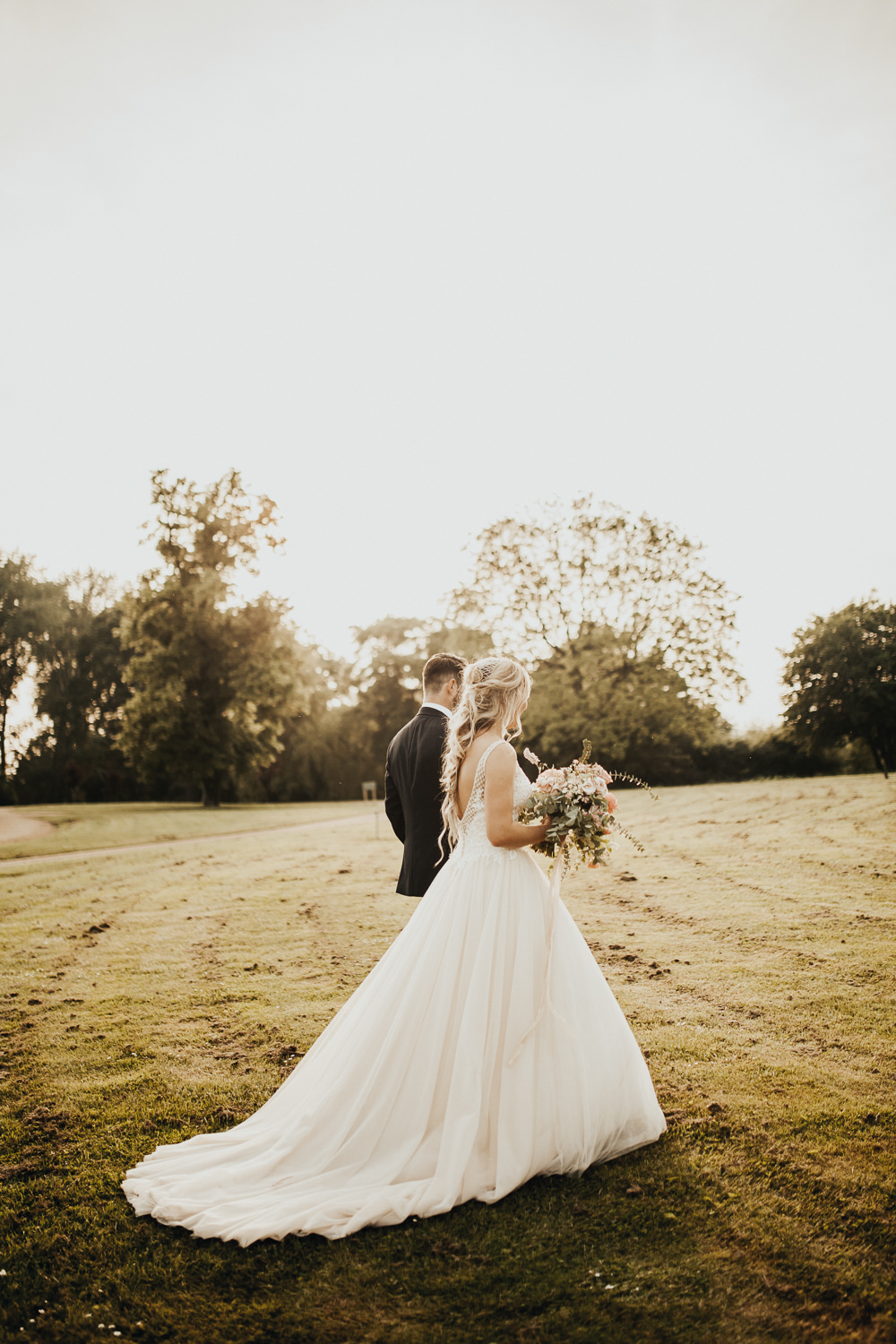 Dress Gown Bride Bridal Maggie Sottero Tulle Embroidered Embellished Train Stubton Hall Wedding Darina Stoda Photography