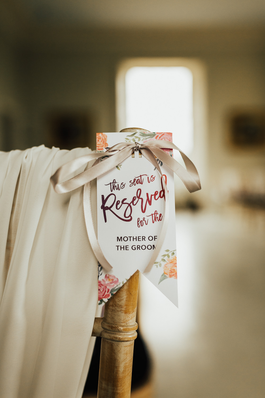 Chair Label Ceremony Reserved Stubton Hall Wedding Darina Stoda Photography