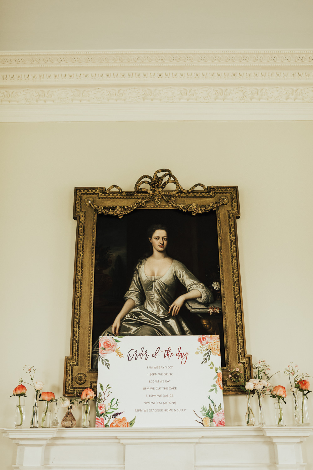 Order of the Day Sign Signage Coral Floral Flowers Fireplace Stubton Hall Wedding Darina Stoda Photography