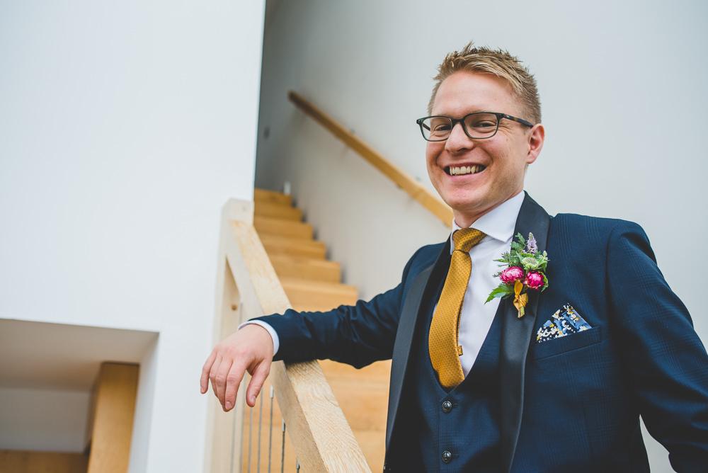 Navy Blue Tuxedo Mustard Tie Groom Bib Waistcoat Victoria Gallery Museum Wedding Emma Hillier Photography