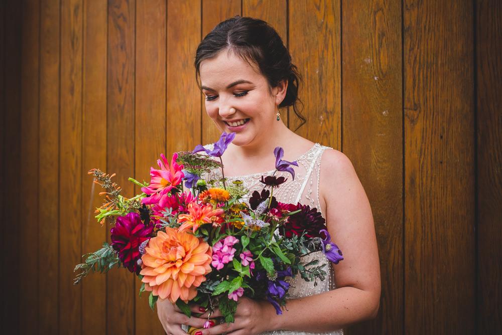 Bride Bridal Bouquet Dahlia Wildflower Multicoloured Victoria Gallery Museum Wedding Emma Hillier Photography