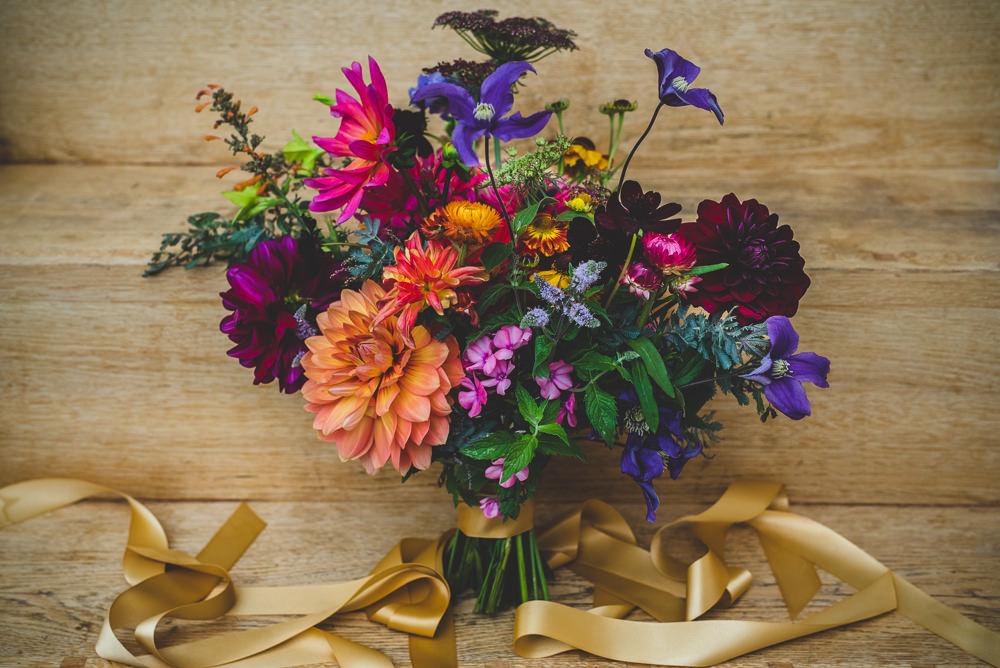 Multicoloured Dahlia Wildflower Bouquet Bride Bridal Victoria Gallery Museum Wedding Emma Hillier Photography