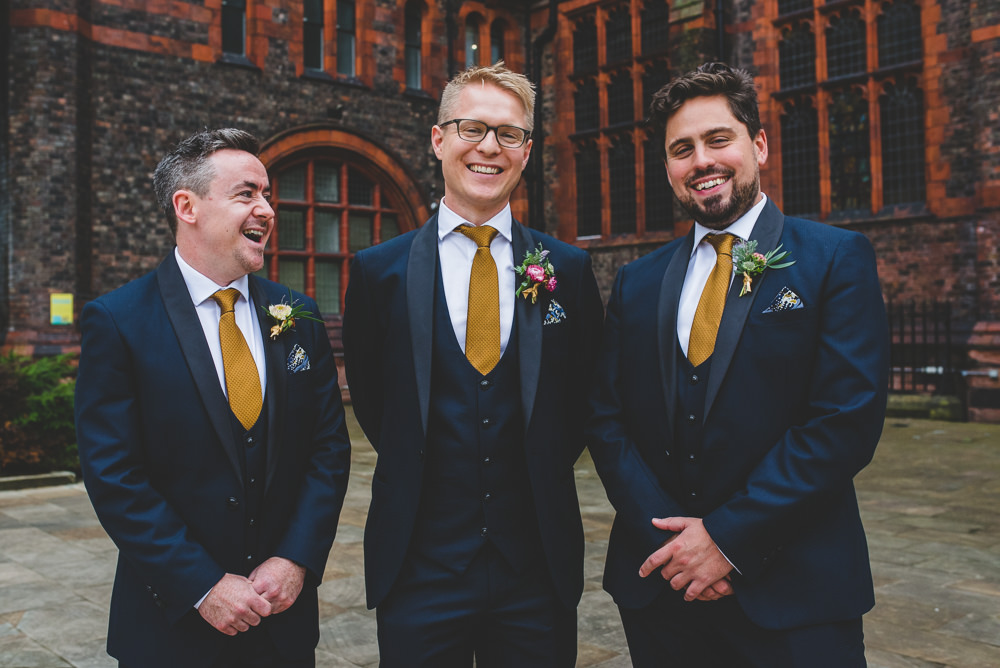 Navy Blue Tuxedo Mustard Tie Groom Bib Waistcoat Groomsmen Victoria Gallery Museum Wedding Emma Hillier Photography