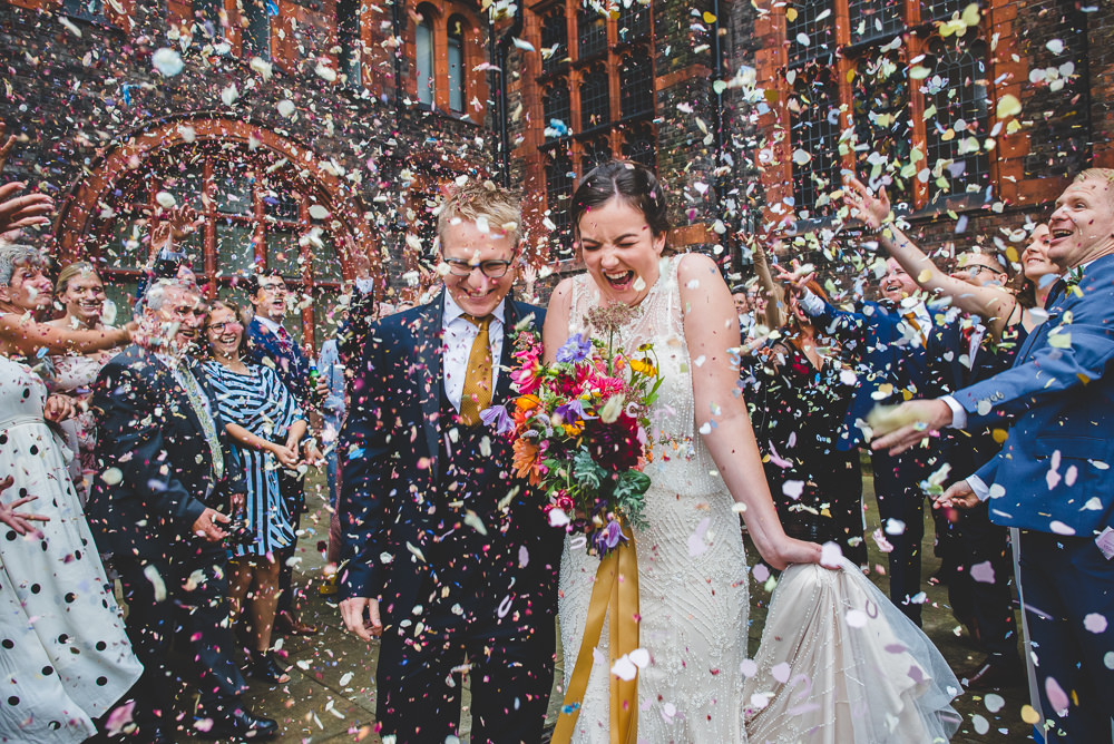Bride Bridal Beaded Embellished Dress Navy Blue Tuxedo Mustard Tie Groom Multicoloured Bouquet Ribbon Confetti Victoria Gallery Museum Wedding Emma Hillier Photography