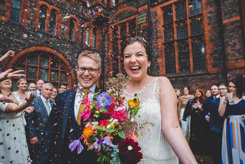 Bride Bridal Beaded Embellished Dress Navy Blue Tuxedo Mustard Tie Groom Confetti Multicoloured Bouquet Victoria Gallery Museum Wedding Emma Hillier Photography