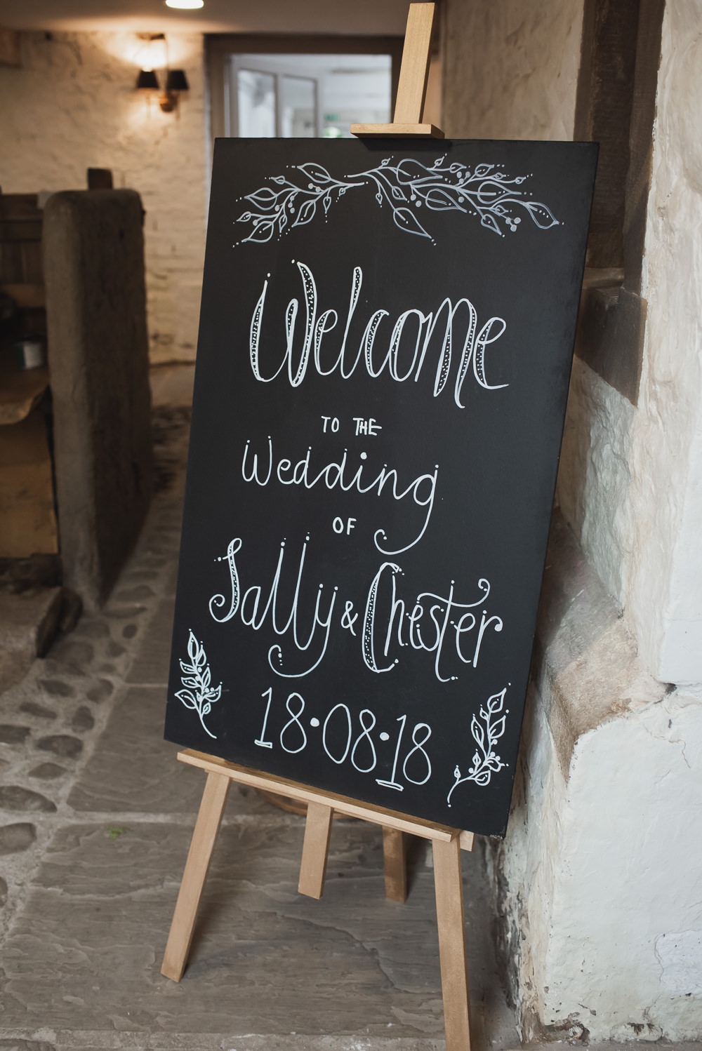 Chalk Board Welcome Sign Wyresdale Park Wedding Lisa Howard Photography