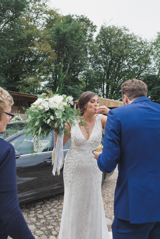 Bride Bridal V Neck Dress Gown Underlay Train Shot Greenery White Flowers Bouquet Wyresdale Park Wedding Lisa Howard Photography