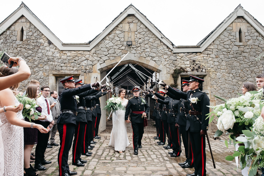 Bride Bridal V Neck Dress Gown Underlay Train Military Uniform Groom Guard of Honour Wyresdale Park Wedding Lisa Howard Photography