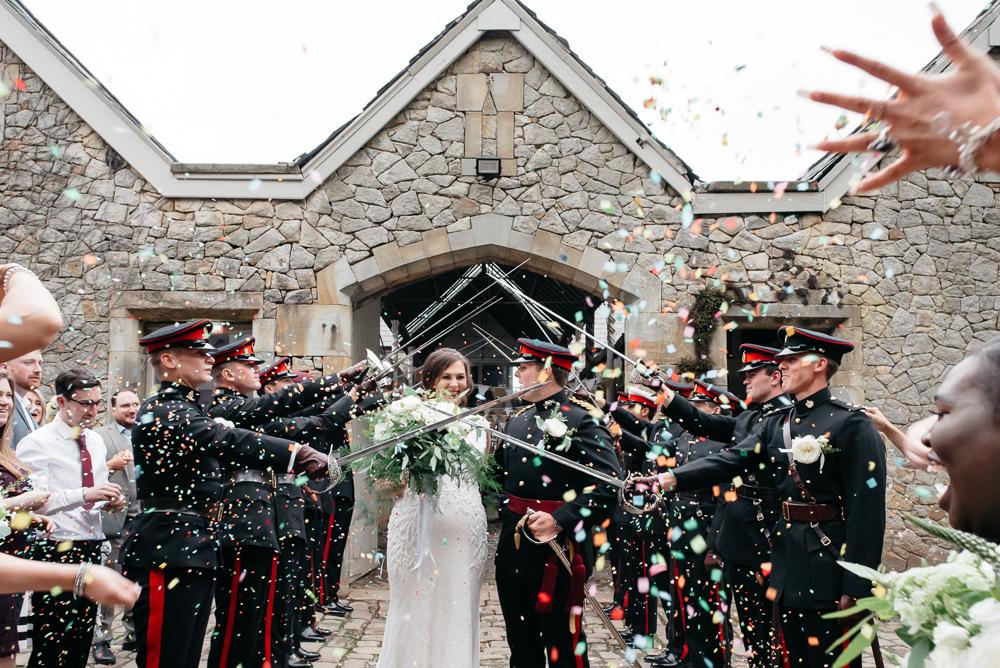 Bride Bridal V Neck Dress Gown Underlay Train Military Uniform Groom Guard of Honour Confetti Wyresdale Park Wedding Lisa Howard Photography