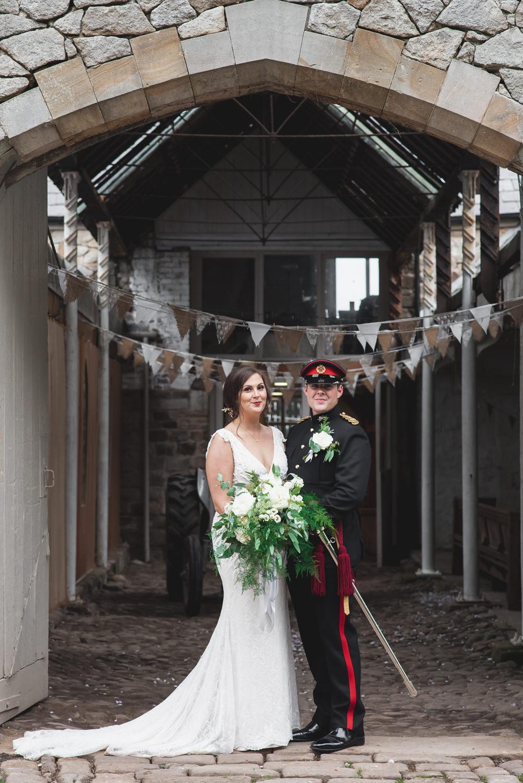 Bride Bridal V Neck Dress Gown Underlay Train Military Uniform Groom Greenery White Flower Bouquet Wyresdale Park Wedding Lisa Howard Photography