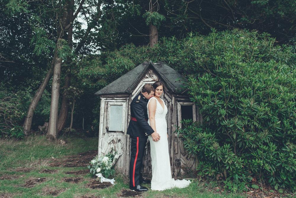 Bride Bridal V Neck Dress Gown Underlay Train Military Uniform Groom Wyresdale Park Wedding Lisa Howard Photography