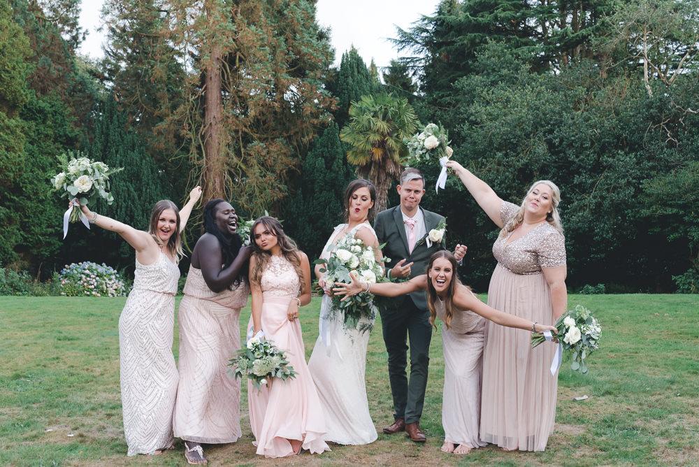 Bride Bridal Bridesmaids Mismatched Pink Beaded Dresses Wyresdale Park Wedding Lisa Howard Photography