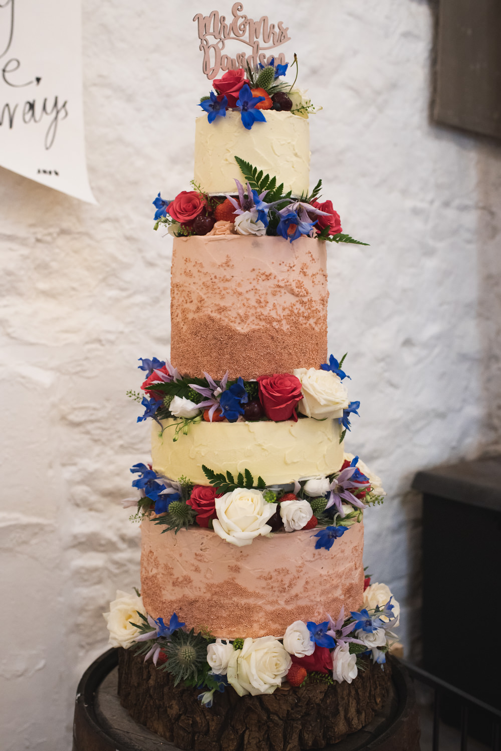 Four Tier Cake Floral Flowers Laser Cut Topper Wyresdale Park Wedding Lisa Howard Photography