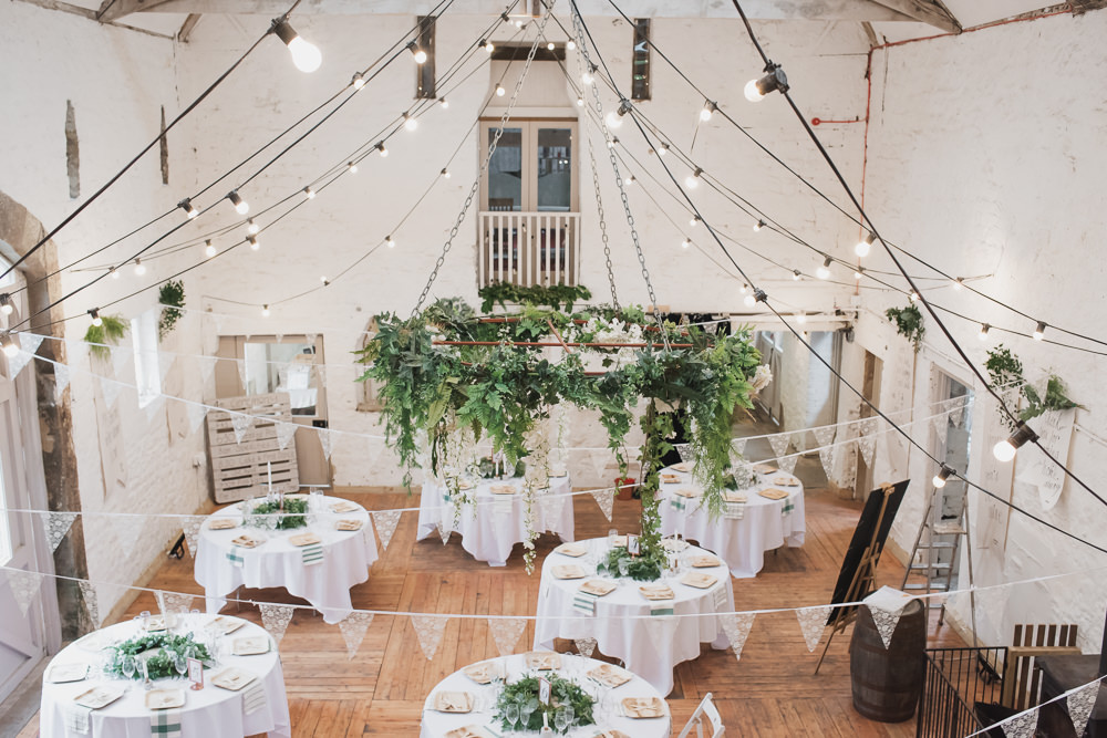 Bunting Greenery Hoop Festoon Lighting Wyresdale Park Wedding Lisa Howard Photography