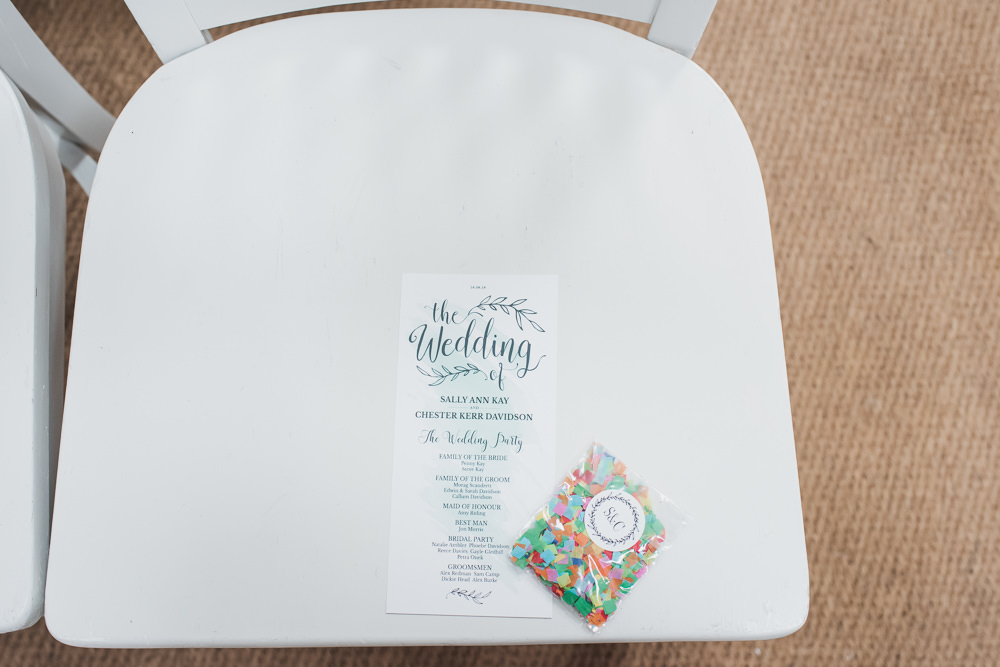 Order of Service Confetti Packet Wyresdale Park Wedding Lisa Howard Photography