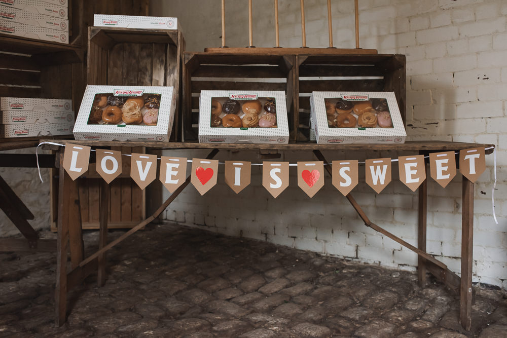Donut stand Crate Krispy Creme Bunting Love Is Sweet Wyresdale Park Wedding Lisa Howard Photography