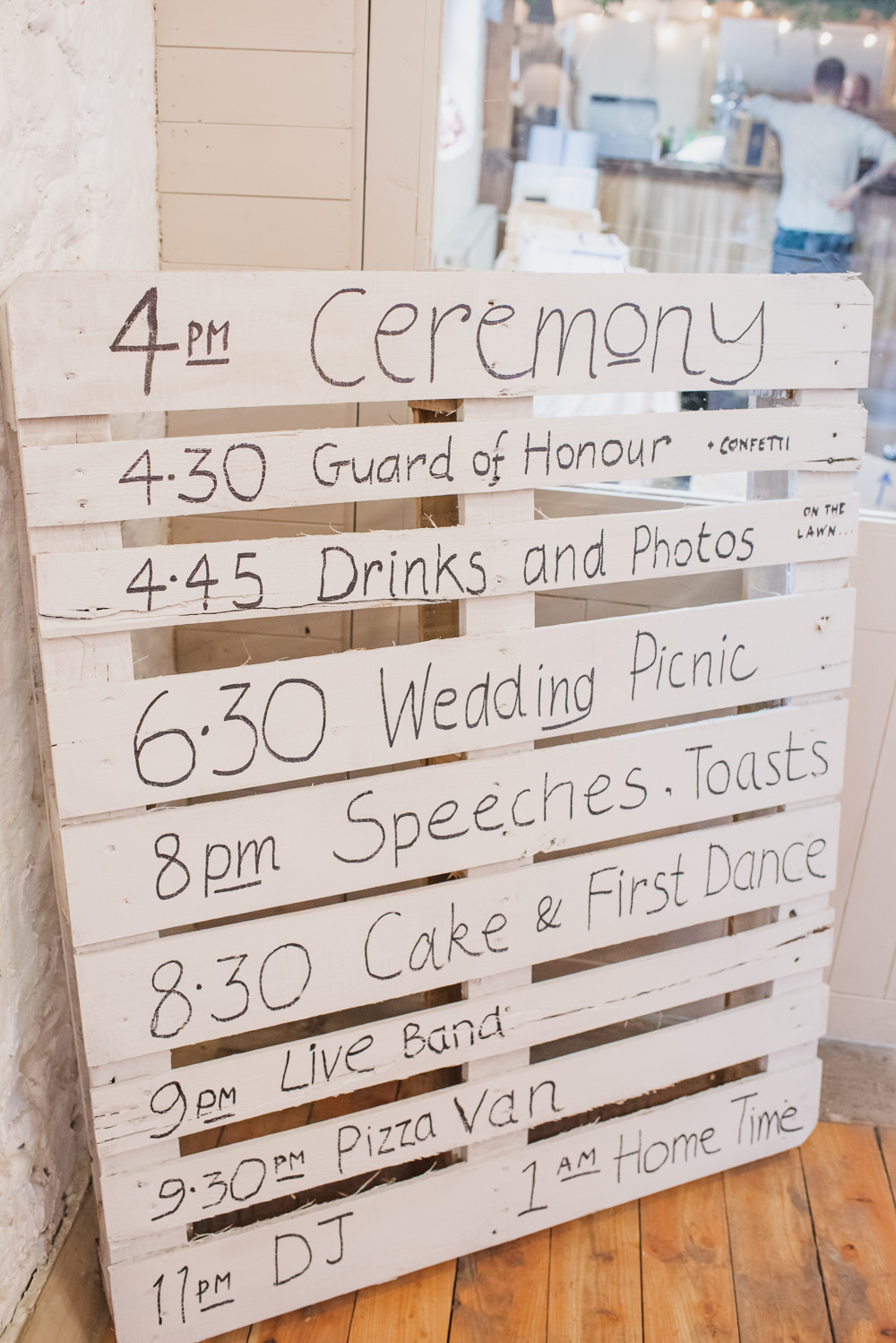 Painted Pallet Order of the Day Wyresdale Park Wedding Lisa Howard Photography