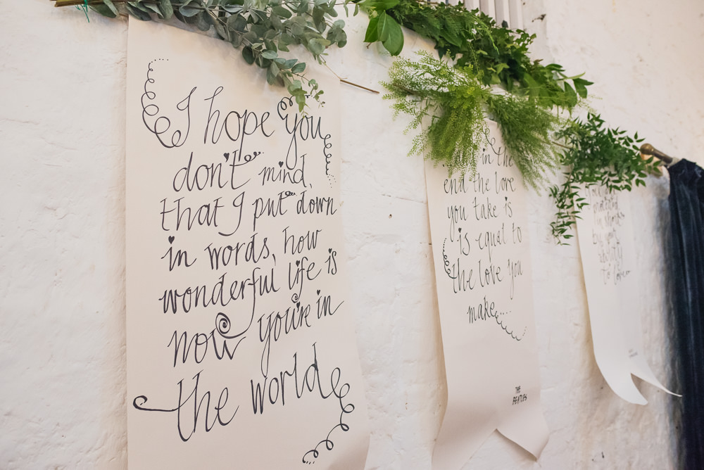 Banner Quote Calligraphy Wallpaper Greenery Wyresdale Park Wedding Lisa Howard Photography