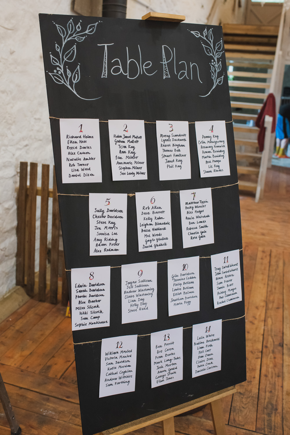 Chalk Board Table Plan Seating Chart String Easel Wyresdale Park Wedding Lisa Howard Photography