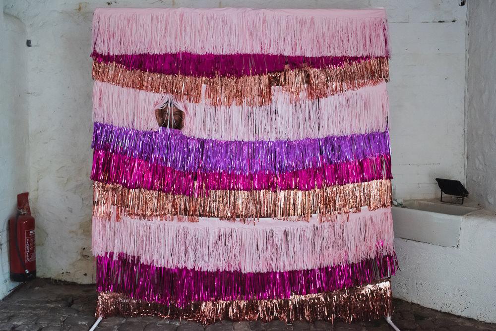 Pink Purple Rose Gold Tassel Backdrop Wyresdale Park Wedding Lisa Howard Photography