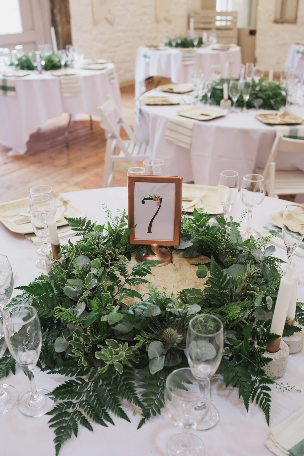 Table Number Greenery Table Centre Wyresdale Park Wedding Lisa Howard Photography