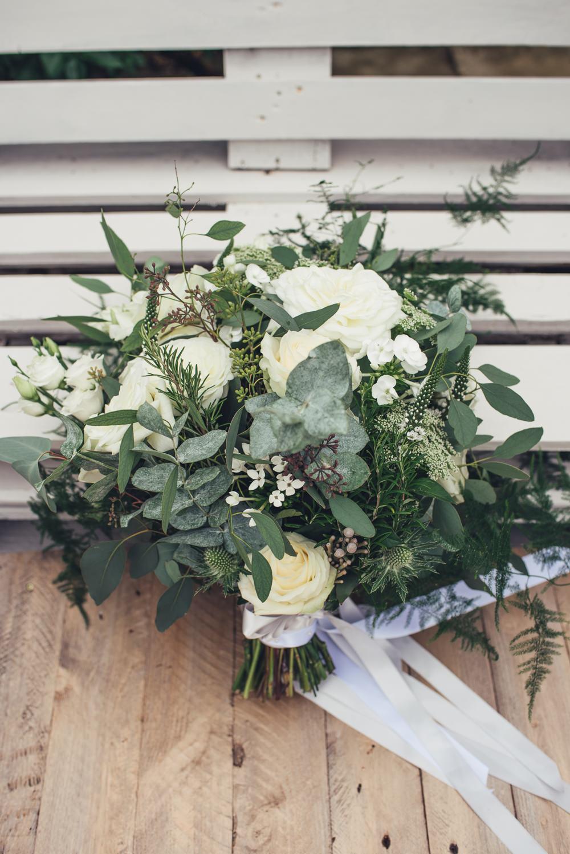 White Rose Bride Bridal Greenery Eucalyptus Bouquet Wyresdale Park Wedding Lisa Howard Photography