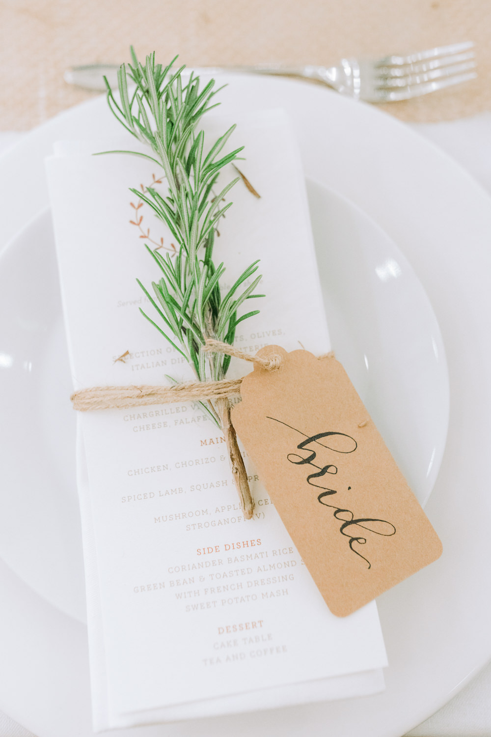 Place Setting Decor Decoration Place Name Luggage Tag Calligraphy Rosemary Autumn Village Hall Wedding The Gibsons Photography