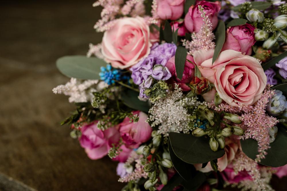 Bouquet Flowers Bride Bridal Pretty Spring Pink Blue Lilac Rose Blossom Barn Wedding Ideas Hayley Baxter Photography
