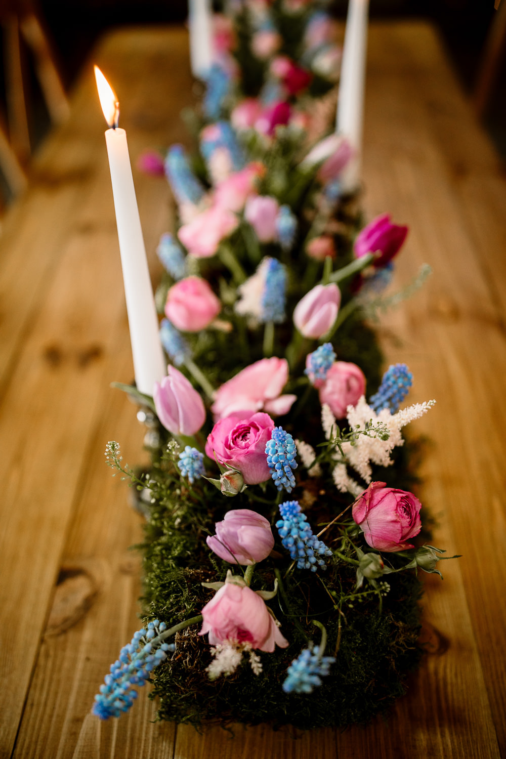 Table Flowers Candles Tablescape Spring Tulips Grape Hyacinths Moss Blossom Barn Wedding Ideas Hayley Baxter Photography