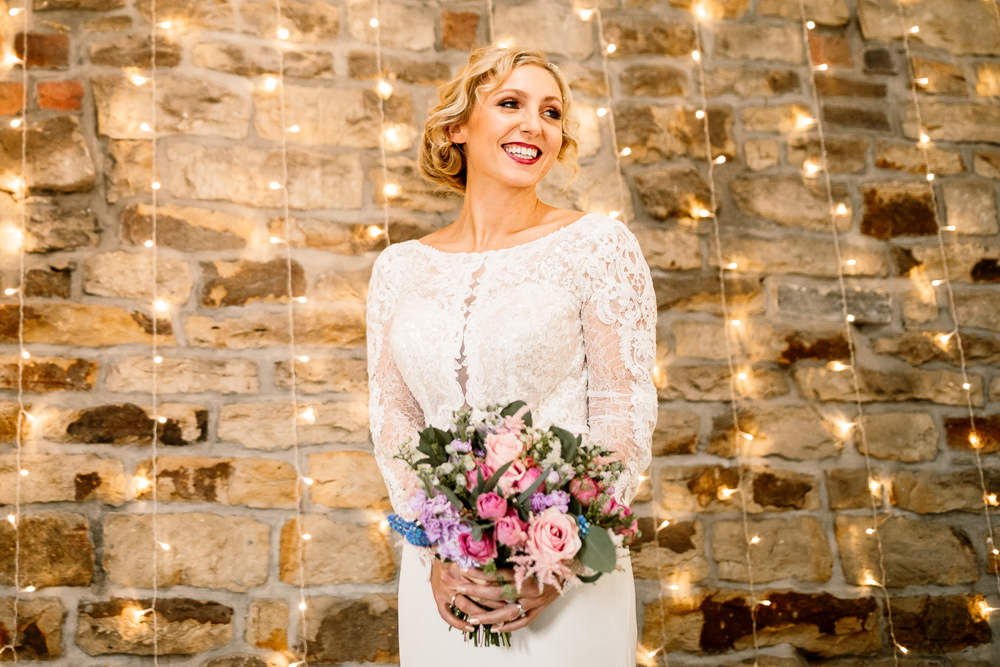 Bride Bridal Dress Gow Lace Long Sleeves Blossom Barn Wedding Ideas Hayley Baxter Photography