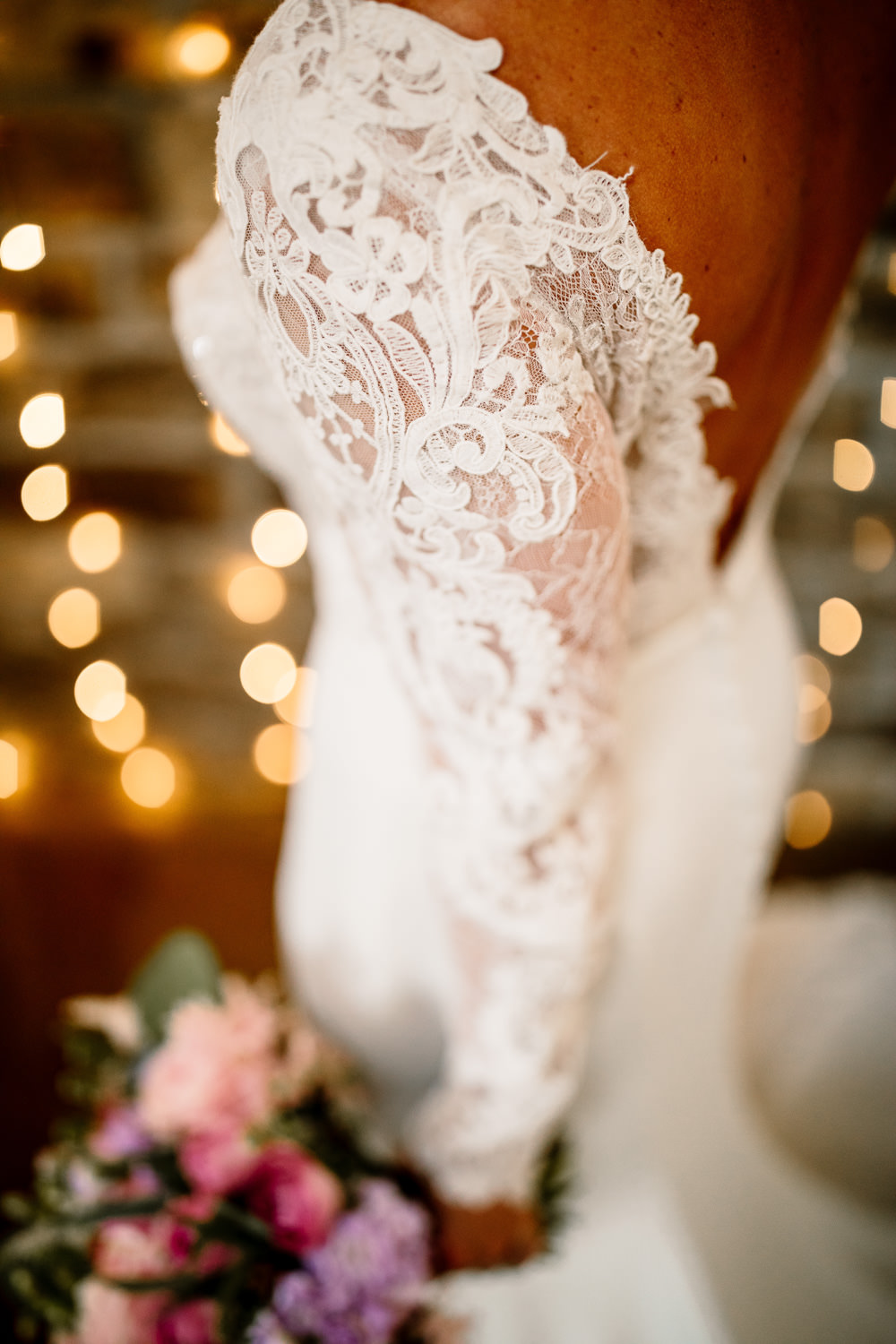 Bride Bridal Dress Gow Lace Long Sleeves Low Back Blossom Barn Wedding Ideas Hayley Baxter Photography