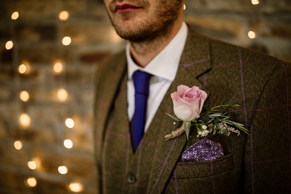 Groom Brown Check Tweed Suit Tie Rose Buttonhole Blossom Barn Wedding Ideas Hayley Baxter Photography