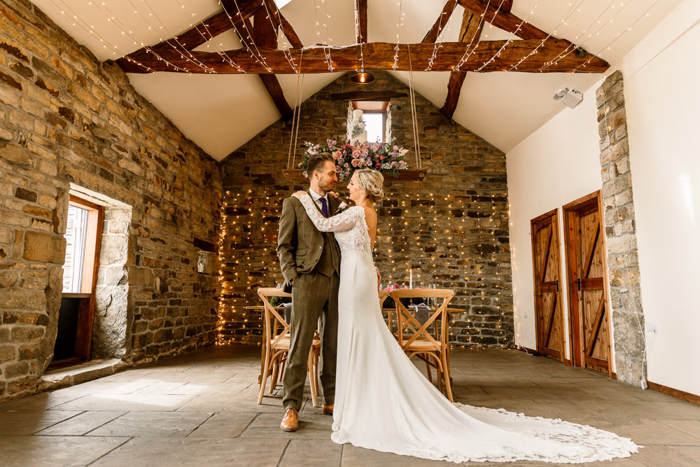 Bride Bridal Dress Gow Lace Long Sleeves Train Blossom Barn Wedding Ideas Hayley Baxter Photography