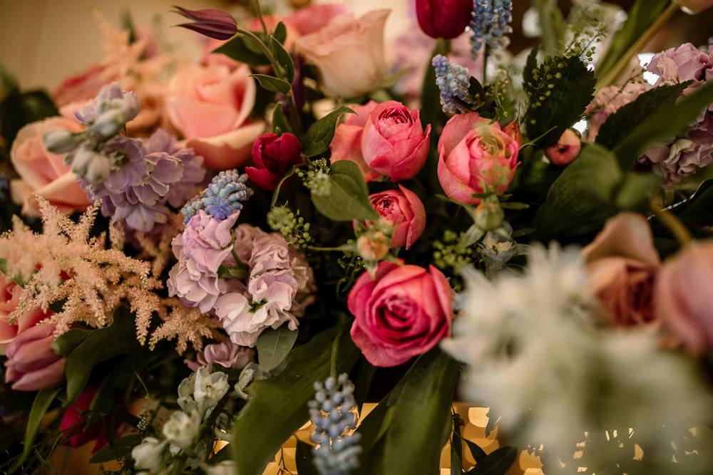 Spring Flowers Pink Blue Lilac Rose Blossom Barn Wedding Ideas Hayley Baxter Photography