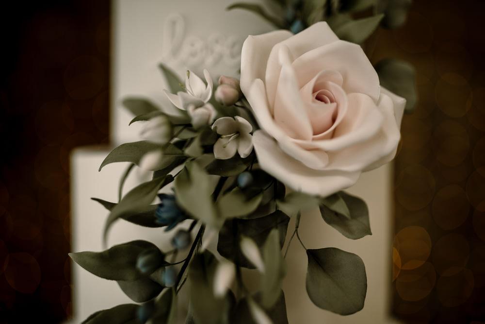 Cake Grey White Greenery Foliage Flower Blossom Barn Wedding Ideas Hayley Baxter Photography