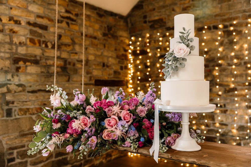 Cake Grey White Greenery Foliage Blossom Barn Wedding Ideas Hayley Baxter Photography