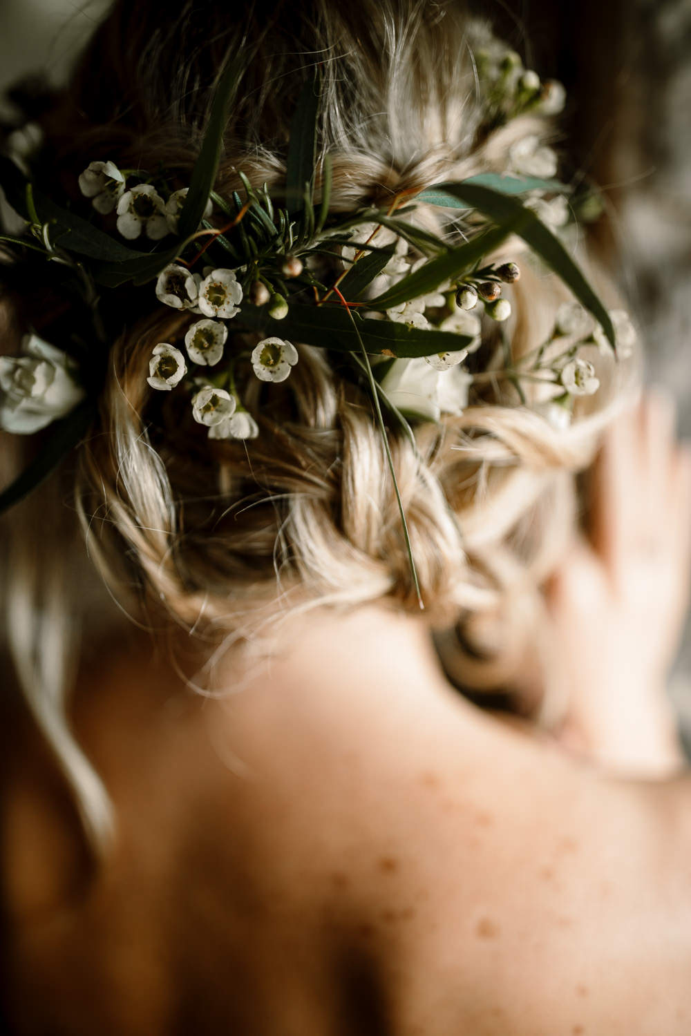 Hair Style Up Do Bride Bridal Flowers Floral Waves Plait Braid Blossom Barn Wedding Ideas Hayley Baxter Photography